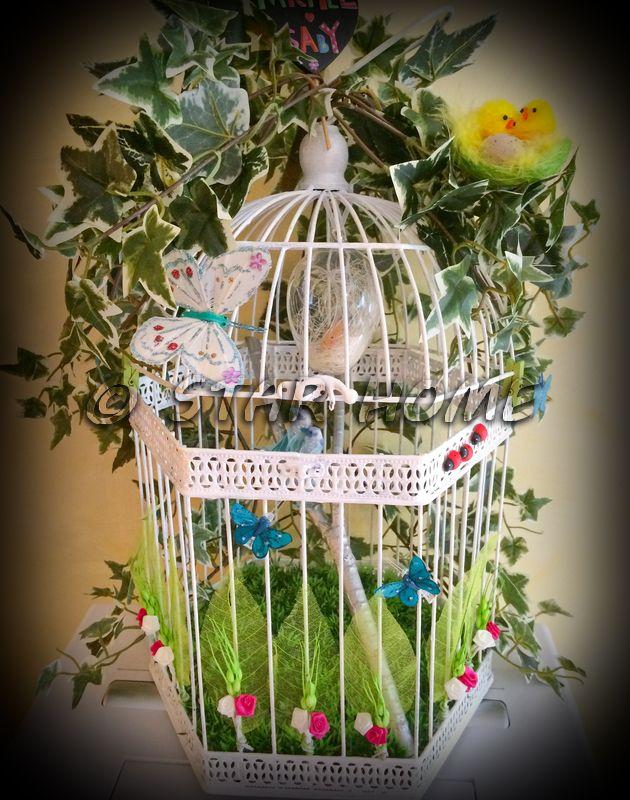 urne de mariage cage en mtal peinte en blanc thme nature - Urne Mariage Champetre